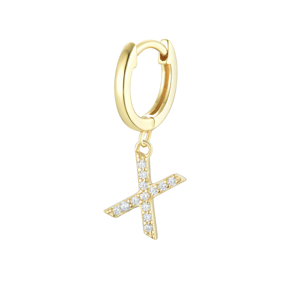 Magna | X Letter Single Earring | White CZ | 18K Gold Plated 925 Silver