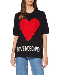 Love Moschino Heart And Logo_Short Sleeve Knitted Pullover Felpa, (Black C74), 46 (Taglia Produttore: 44) Donna Marche Famose