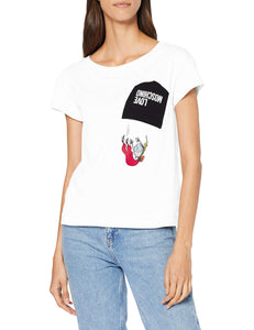Love Moschino Pocket Applied_Short Sleeve T-Shirt, (White A00), 42 (Taglia Produttore: 40) Donna Marche Famose