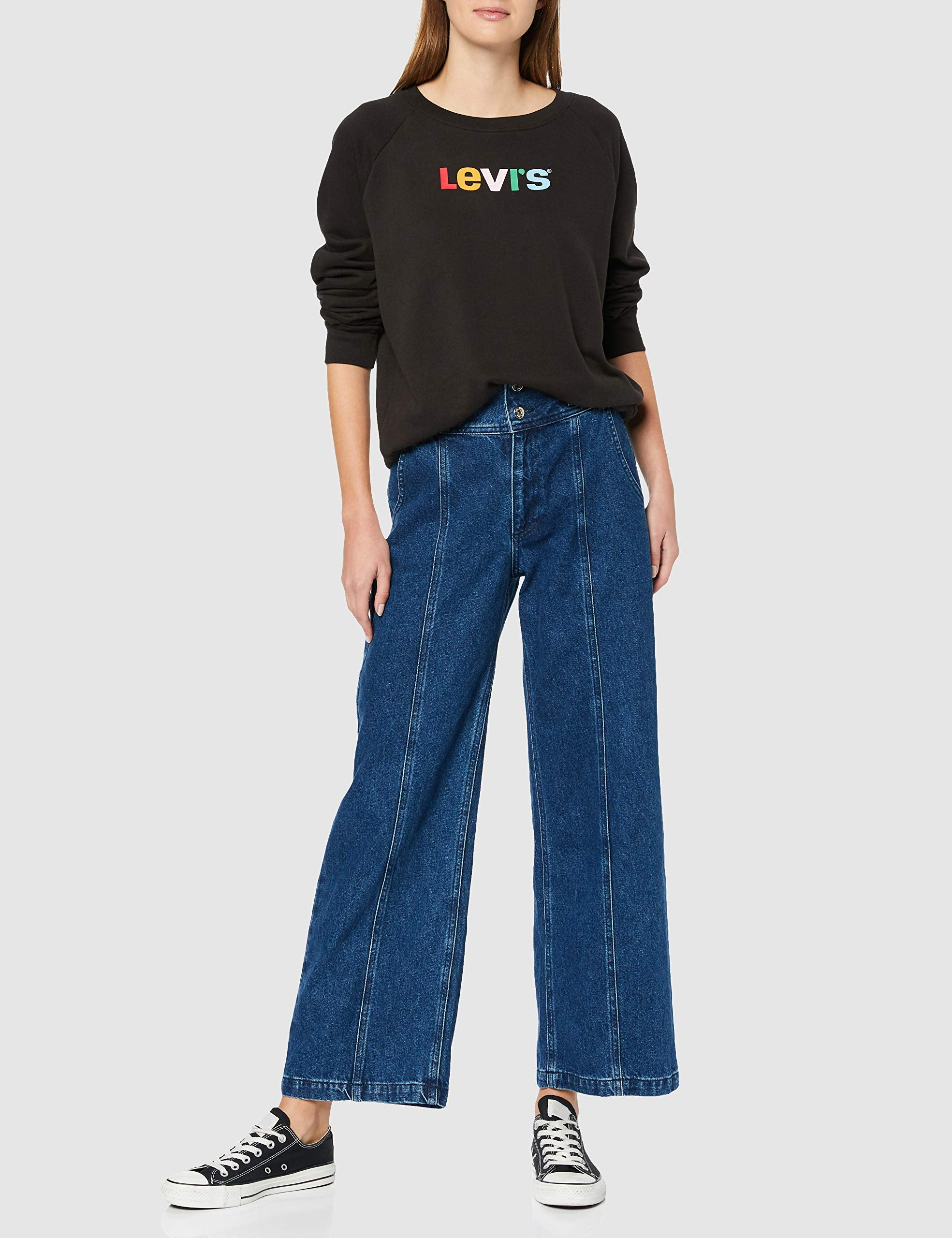 Levi's Relaxed Graphic Felpa, Nero Text Crew Meteorite 0033, Medium Donna Marche Famose