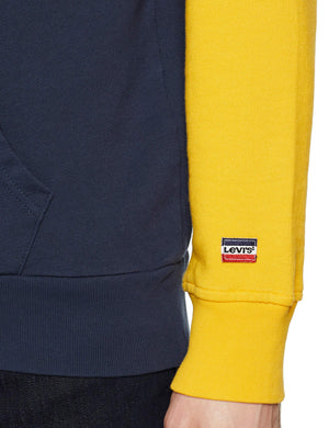 Levi's Hoodie Cappuccio, Multicolore (Colorblock Old Gold/White/Dress Blue 0003), Small Uomo Marche Famose