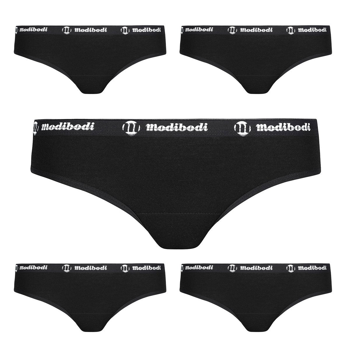 Modibodi Active Brief 5 Pack Black Light-Moderate Flatlay
