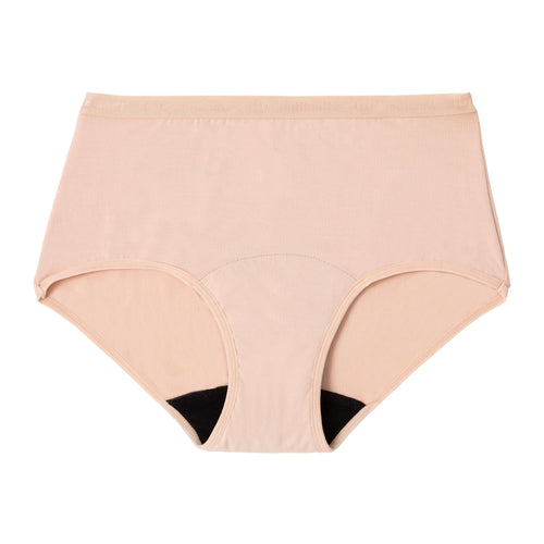 Modibodi Classic Full Brief Beige Light Moderate Flatlay