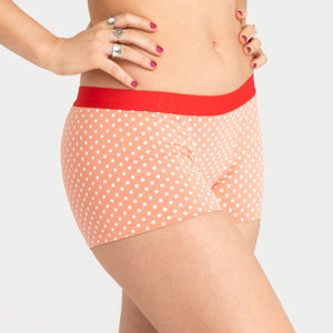 Hipster Boyshort - Peach Spots Moderate-Heavy Absorbency