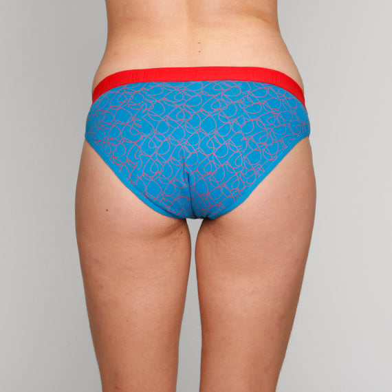 Load image into Gallery viewer, Teen Period Underwear - RED Modibodi Hipster Bikini - Love Hearts