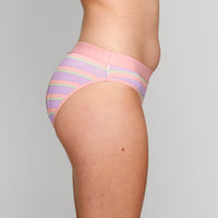 Teen Period Underwear - RED Modibodi Hipster Bikini - Rainbow Stripes