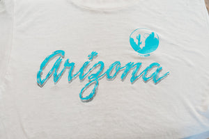 Tissue Thin Heavily Distressed Tucson Arizona Tee Shirt Collegiate Pacific L 50/50 Blend