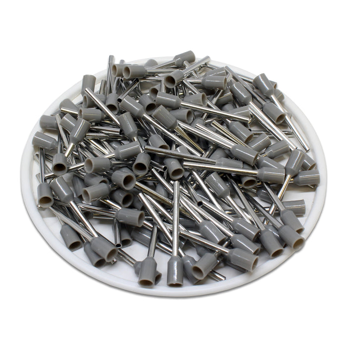 20 AWG (18mm Pin) Insulated Ferrules - Gray