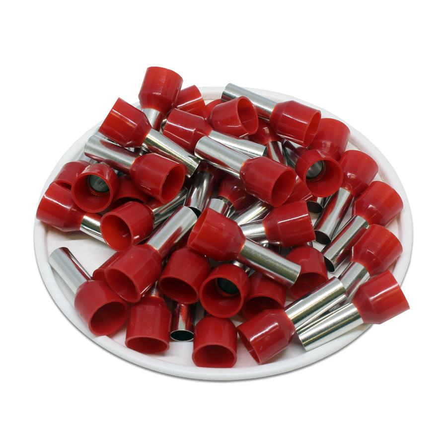 8 AWG (12mm Pin) Insulated Ferrules - Red