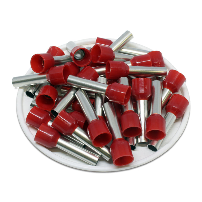 8 AWG (18mm Pin) Insulated Ferrules - Red
