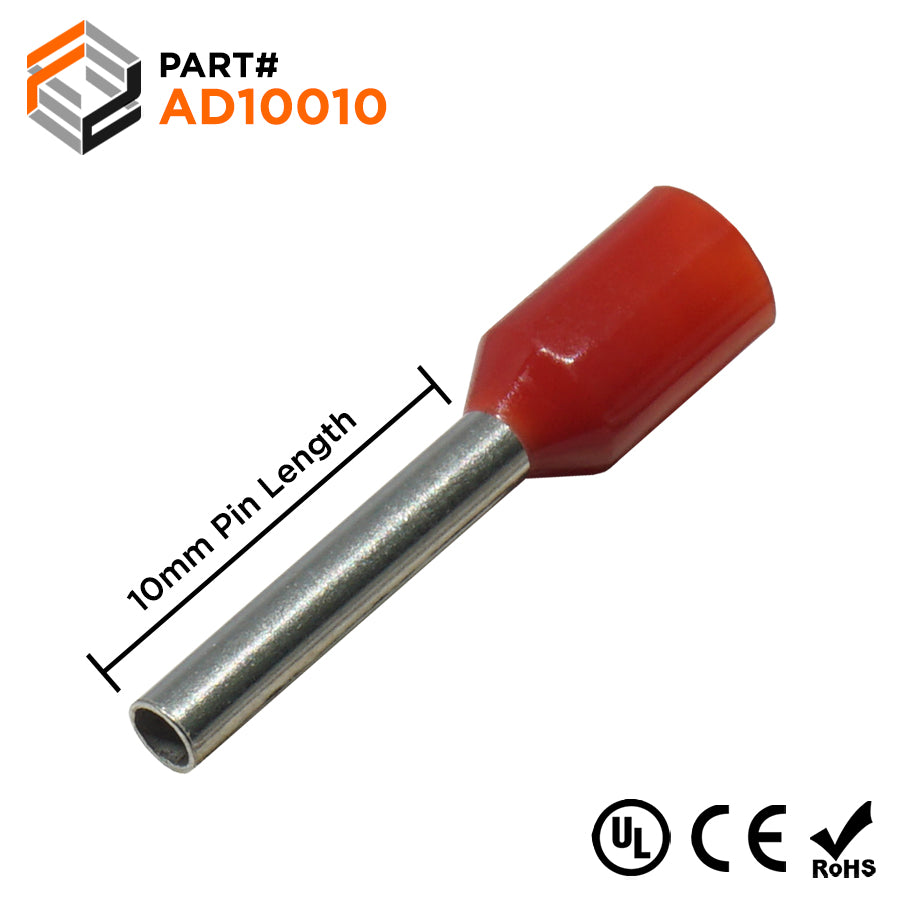 AD10010 - 18AWG (10mm Pin) Insulated Ferrules - Red