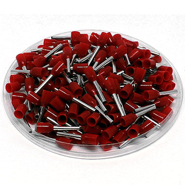 AD10012L - 18AWG (12mm Pin) Insulated Ferrules - Red - Large Cap