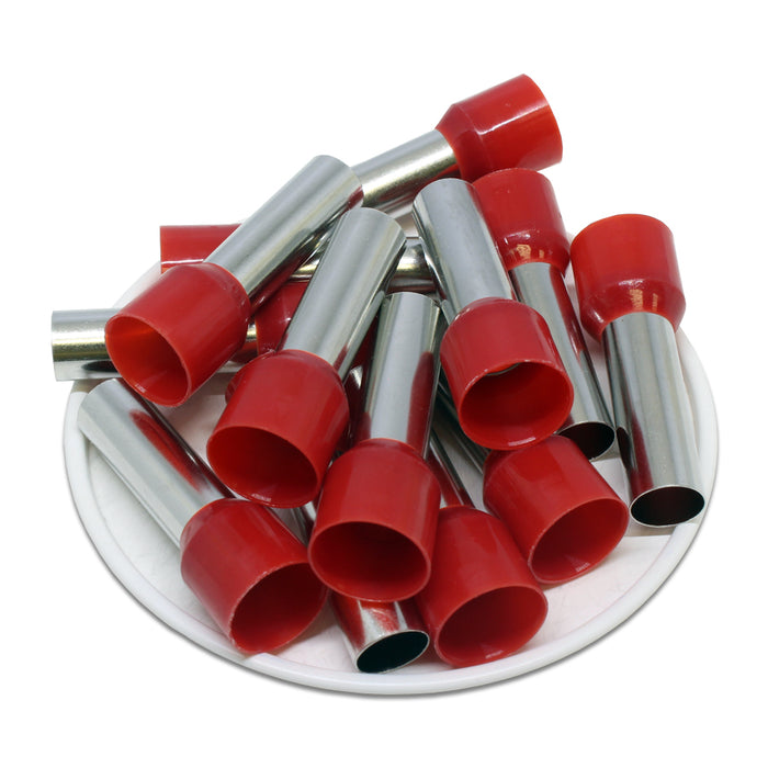 2 AWG (25mm Pin) Insulated Ferrules - Red