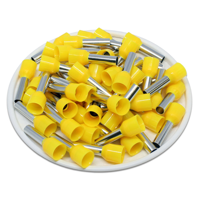 AD60012 - 10 AWG (12mm Pin) Insulated Ferrules - Yellow