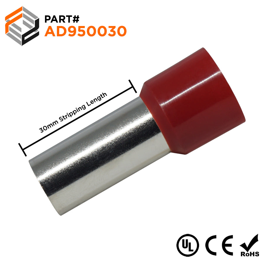 3/0 AWG (30mm Pin) Insulated Ferrules - Red