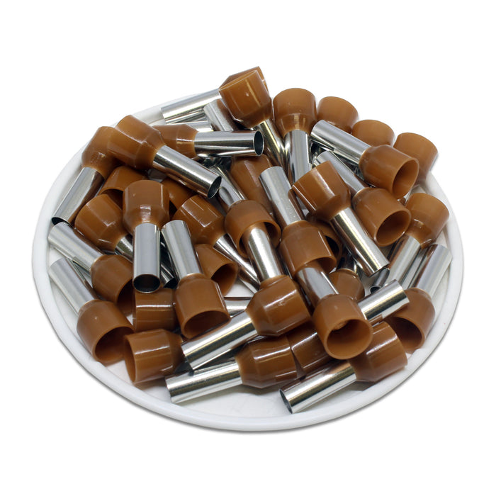 8 AWG (12mm Pin) Insulated Ferrules - Brown