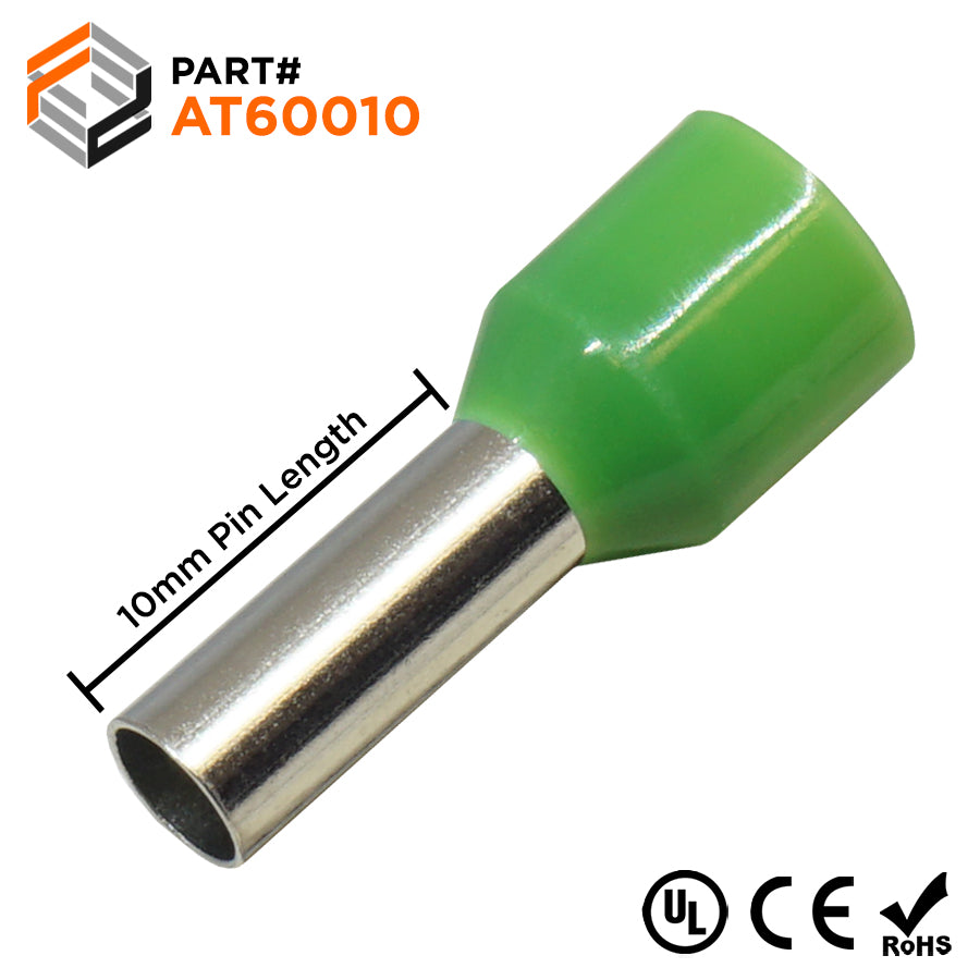 AT60010 - 10 AWG (10mm Pin) Insulated Ferrules - Green