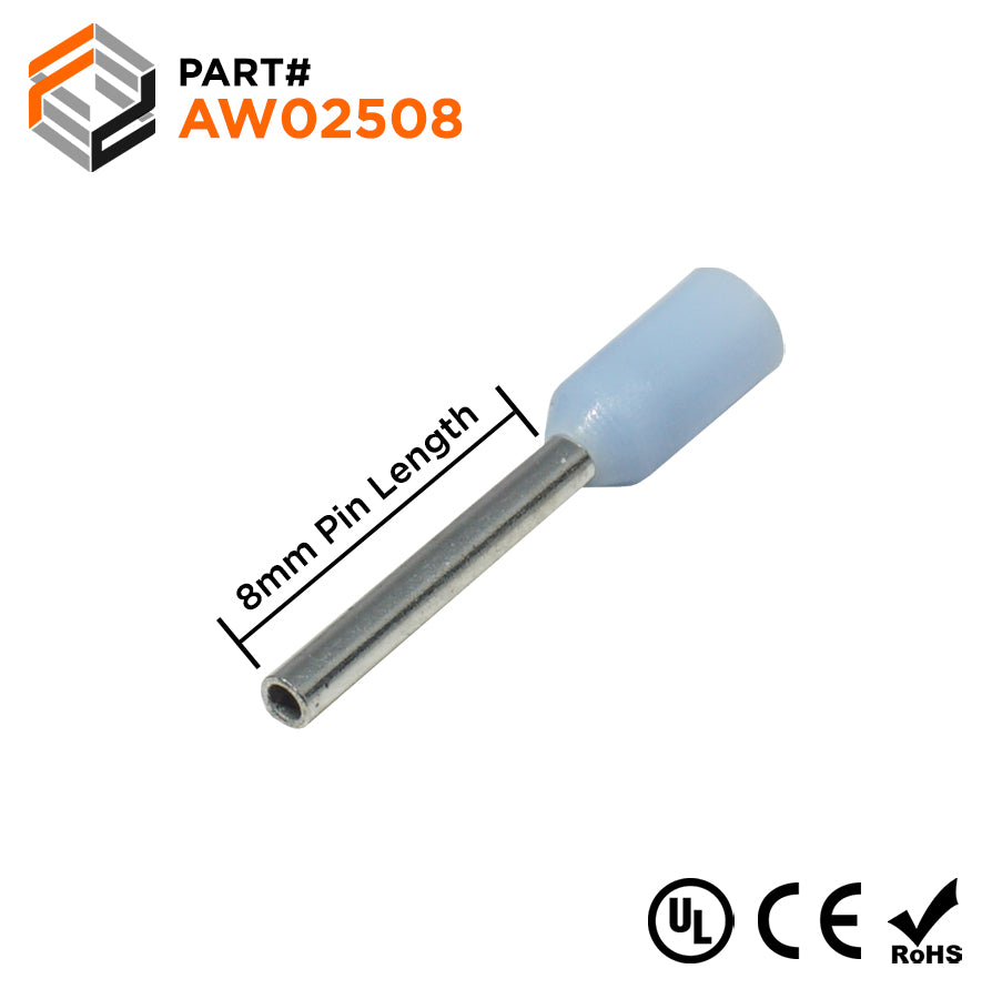 24 AWG (8mm Pin) Insulated Ferrules - Light Blue