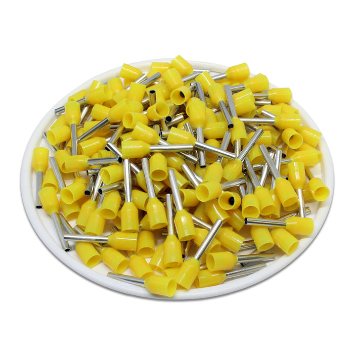 AW10010L - 18AWG (10mm Pin) Insulated Ferrules - Yellow - Large Cap