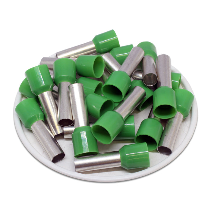 6 AWG (18mm Pin) Insulated Ferrules - Green