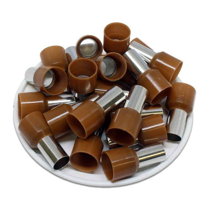 4 AWG (12mm Pin) Insulated Ferrules - Brown