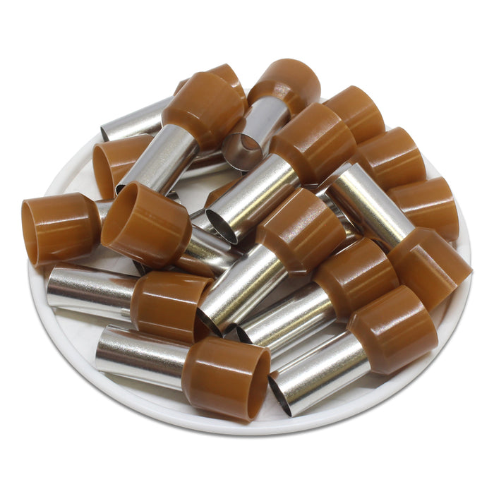 4 AWG (15mm Pin) Insulated Ferrules - Brown