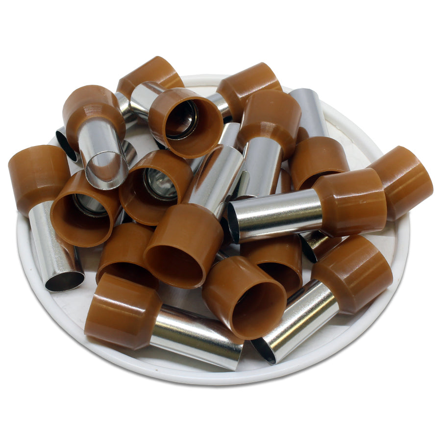 4 AWG (16mm Pin) Insulated Ferrules - Brown