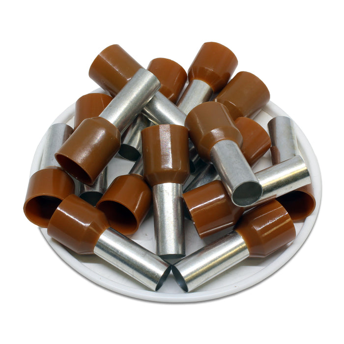 4 AWG (18mm Pin) Insulated Ferrules - Brown
