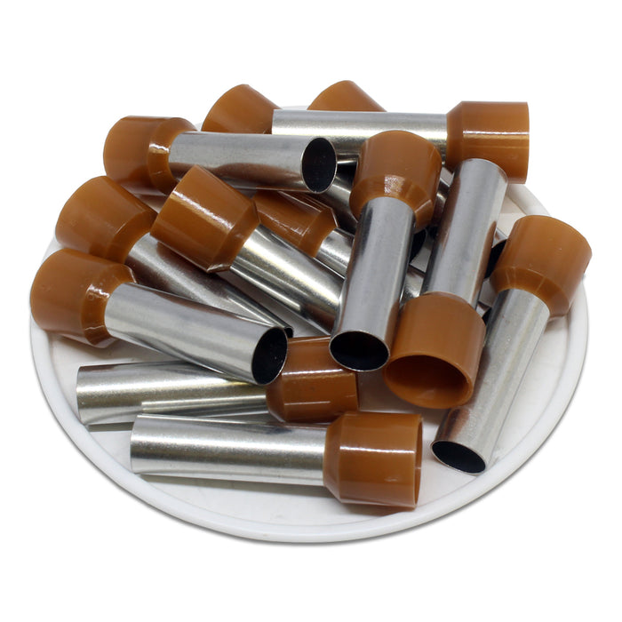 4 AWG (25mm Pin) Insulated Ferrules - Brown