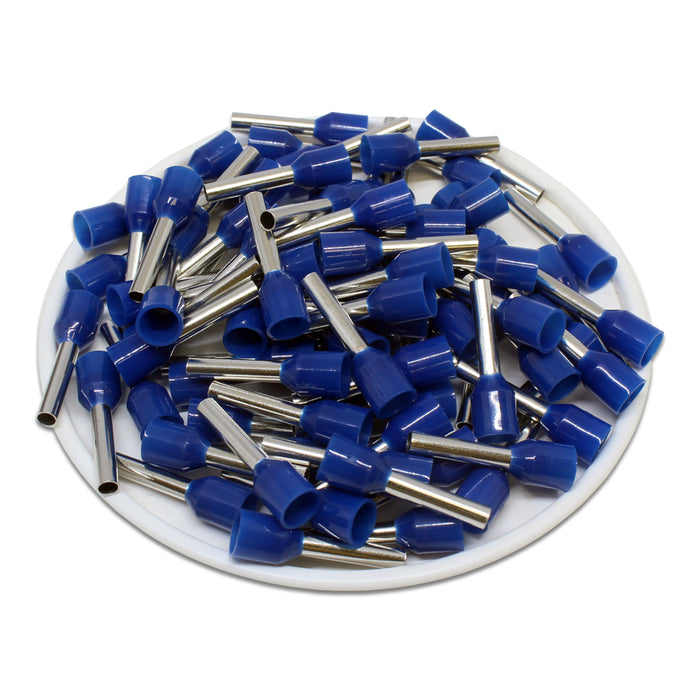 AW25012L - 14AWG (12mm Pin) Insulated Ferrules - Blue - Large Cap