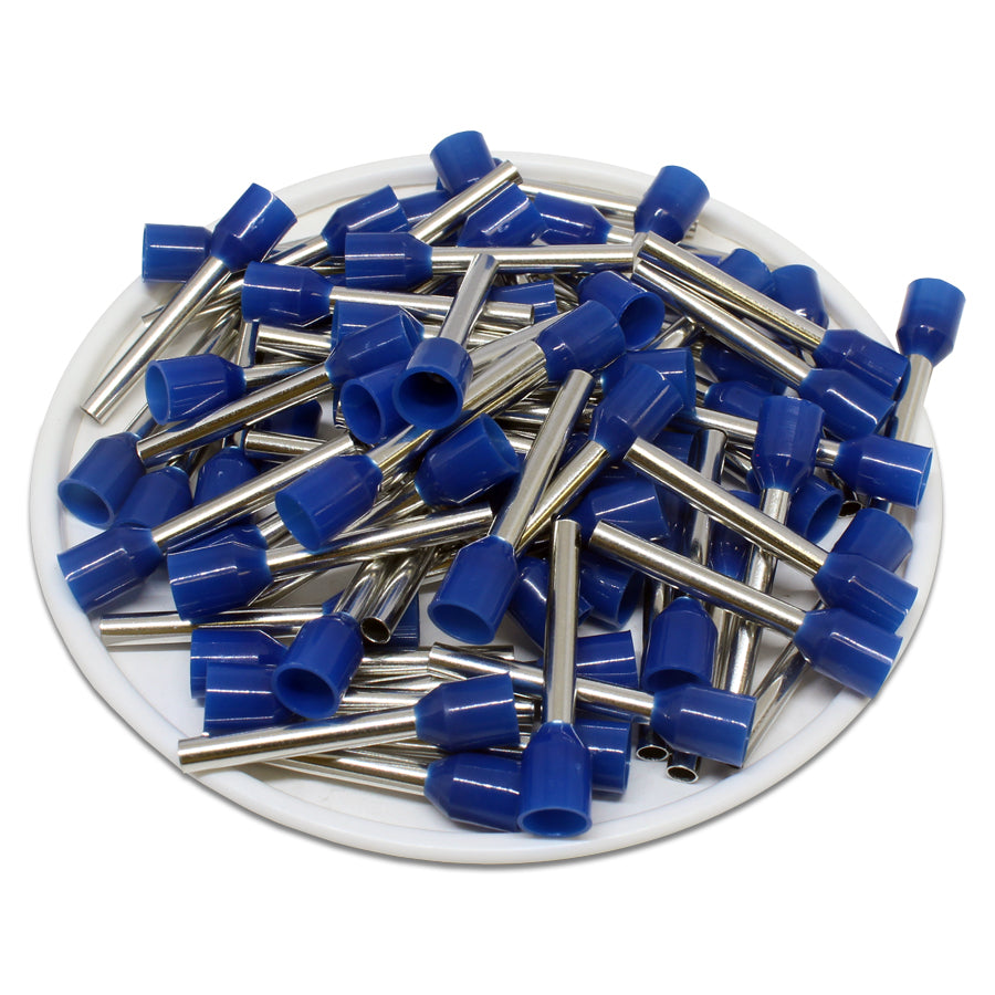 AW25018L - 14AWG (18mm Pin) Insulated Ferrules - Blue - Large Cap