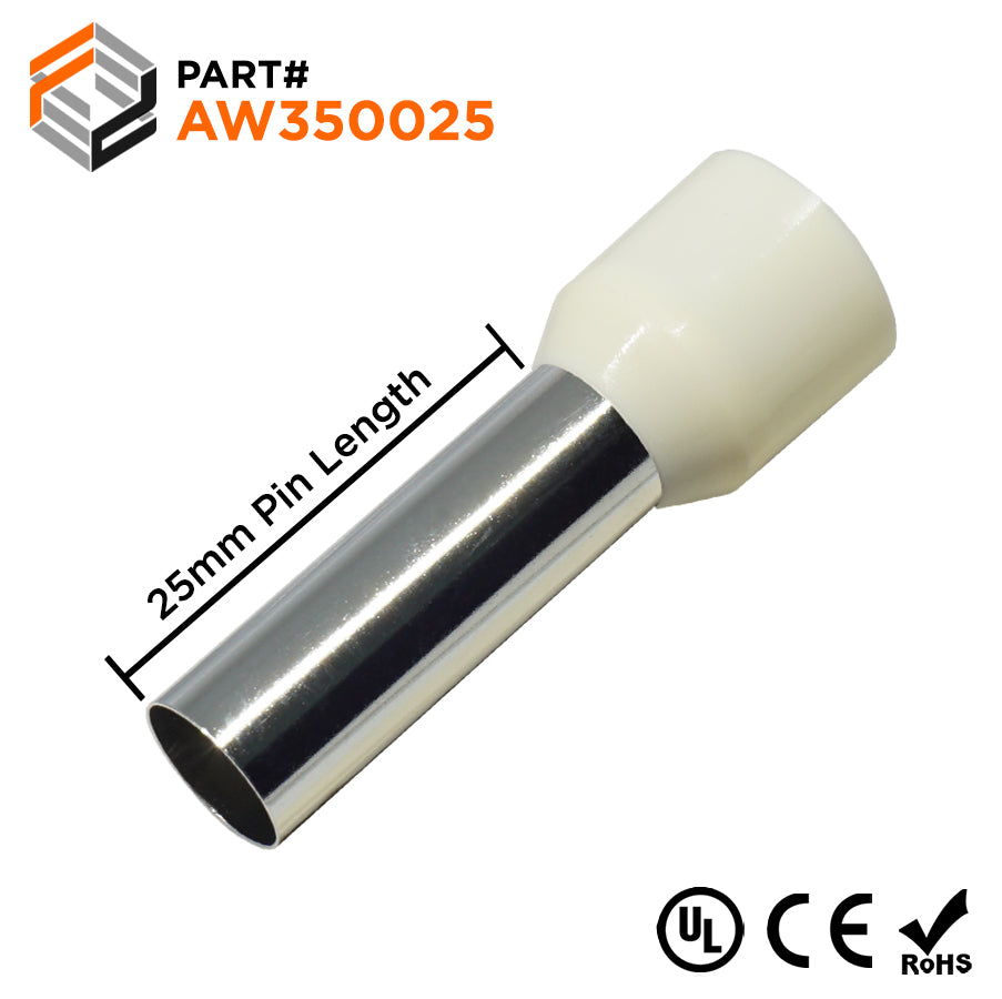 2 AWG (25mm Pin) Insulated Ferrules - Beige