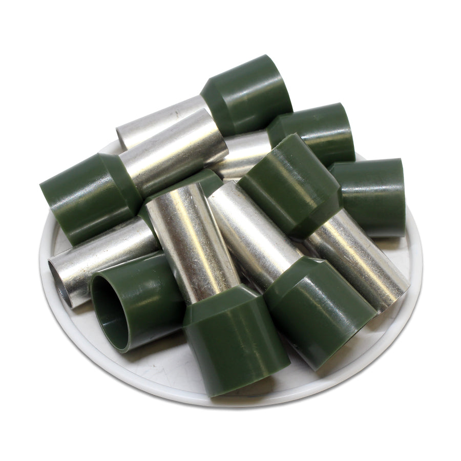 AW500020 - 1 AWG (20mm Pin) Insulated Ferrules - Olive Green
