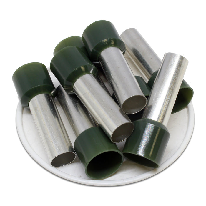 AW500030 - 1-1/0 AWG (30mm Pin) Insulated Ferrules - Olive Green