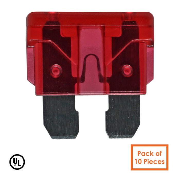 10AMP - 32V - Low Voltage Automotive & Marine Blade Fuse - Color: Red