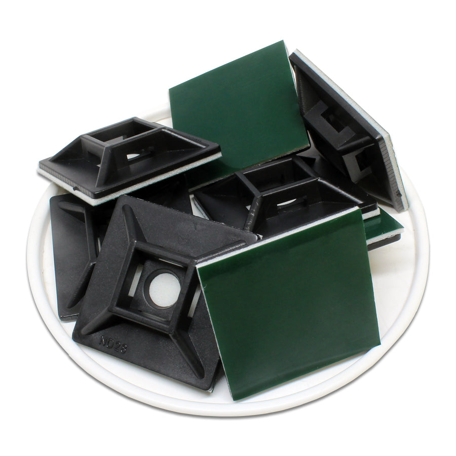 HC102B - Self-adhesive Tie Mounts - 29 x 29 x 6.3mm - Black