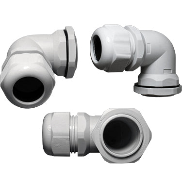 PG16  Right Angle Cable Gland - 7-12mm - Gray - PG1612RA-GY