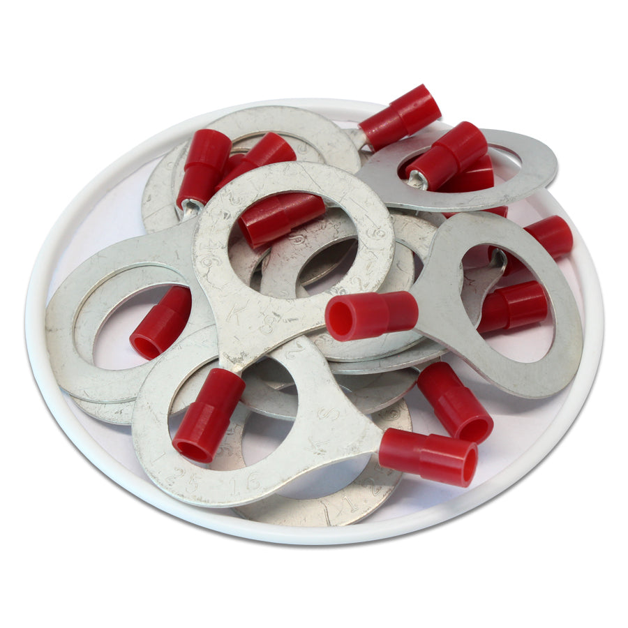 RNYD1-16 Nylon Ring Terminals - Double Crimp 22-16AWG
