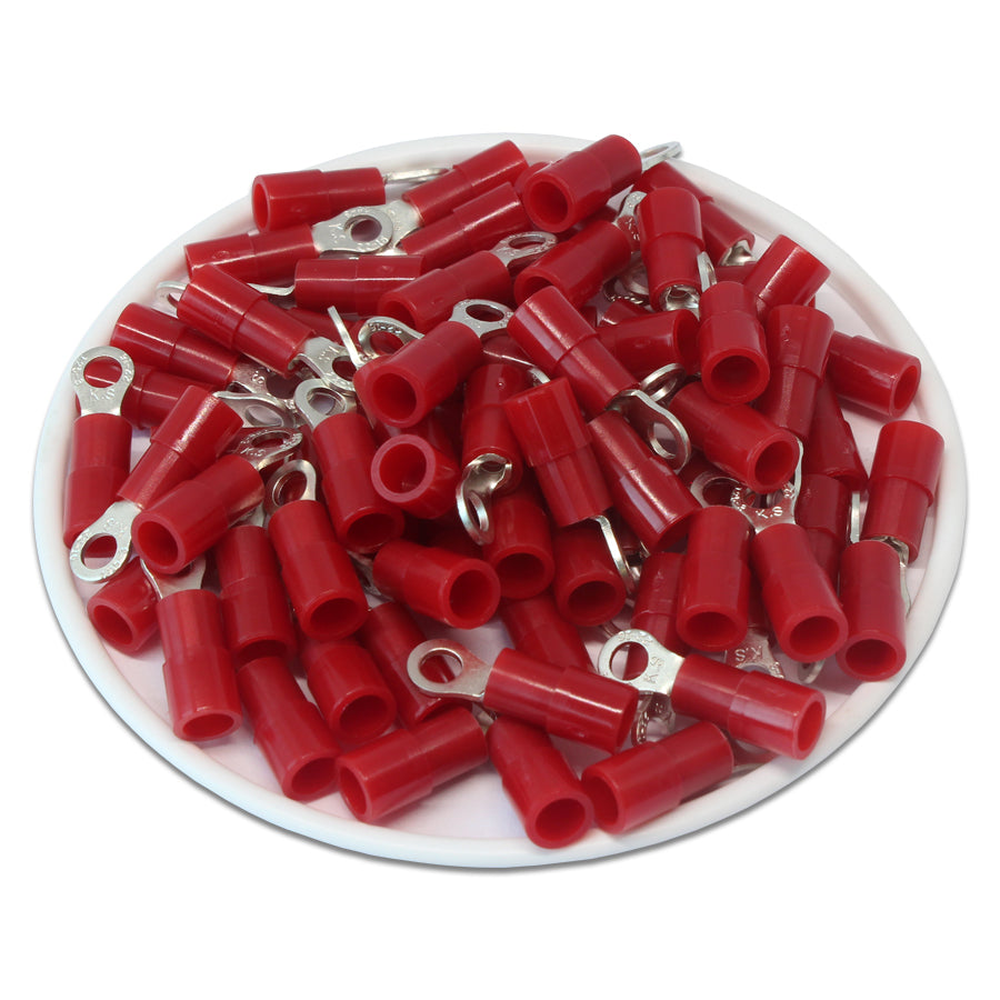 RNY1-3.2 Nylon Ring Terminals - Standard Crimp 22-16AWG - Stud #4