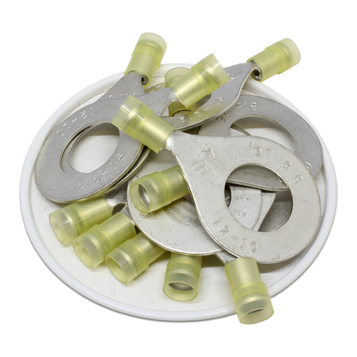 RNYD5-16 Nylon Ring Terminals - Double Crimp 12-10AWG