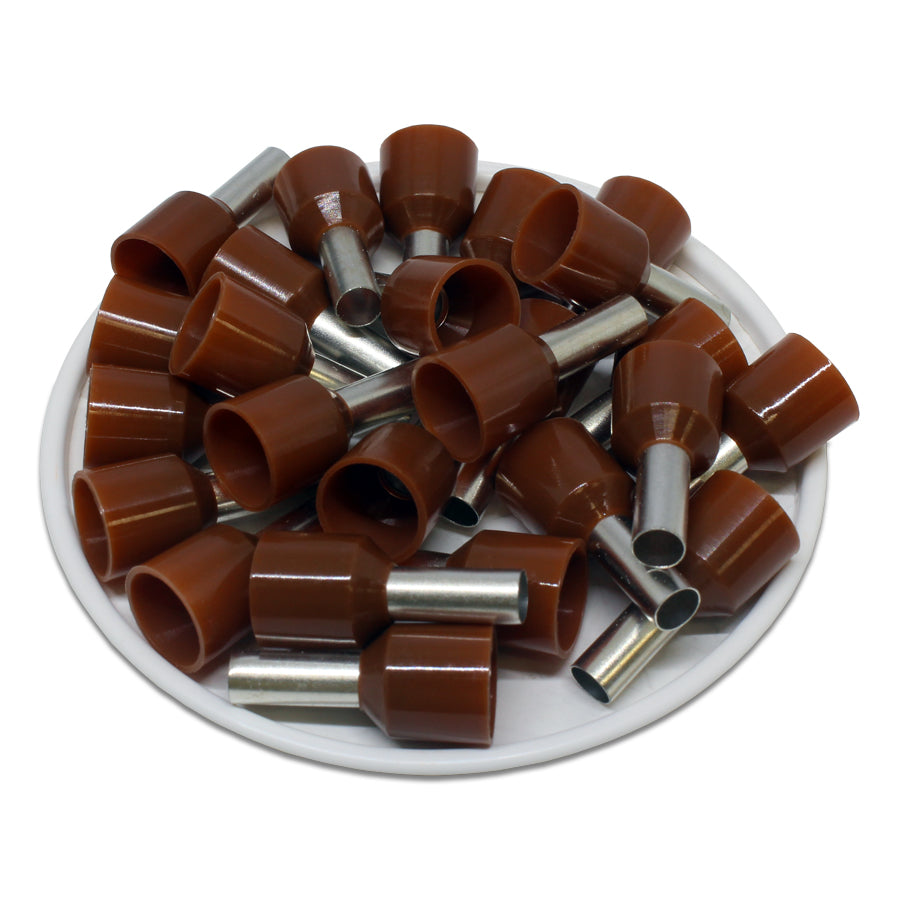 8 AWG (12mm Pin) Short Circuit Ferrules - Brown