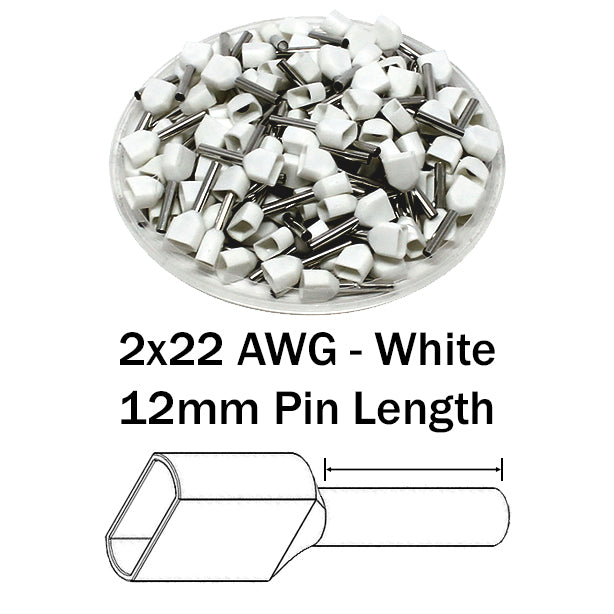 2x22 AWG (12mm Pin) Twin Wire Ferrules - White