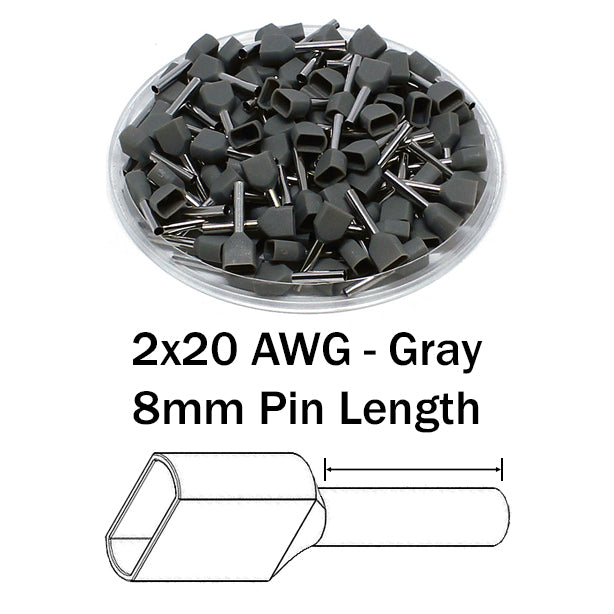 2x20 AWG (8mm Pin) Twin Wire Ferrules - Gray