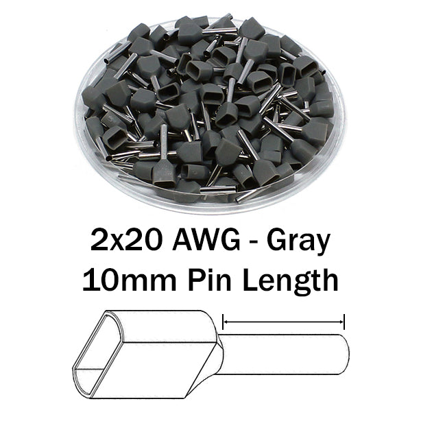 2x20 AWG (10mm Pin) Twin Wire Ferrules - Gray
