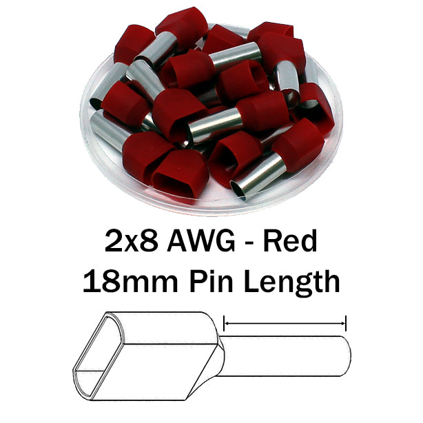 2x8 AWG (18mm Pin) Twin Wire Ferrules - Red