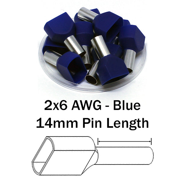 2x6 AWG (14mm Pin) Twin Wire Ferrules - Blue