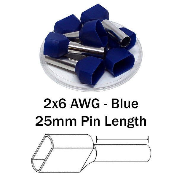 2x6 AWG (25mm Pin) Twin Wire Ferrules - Blue