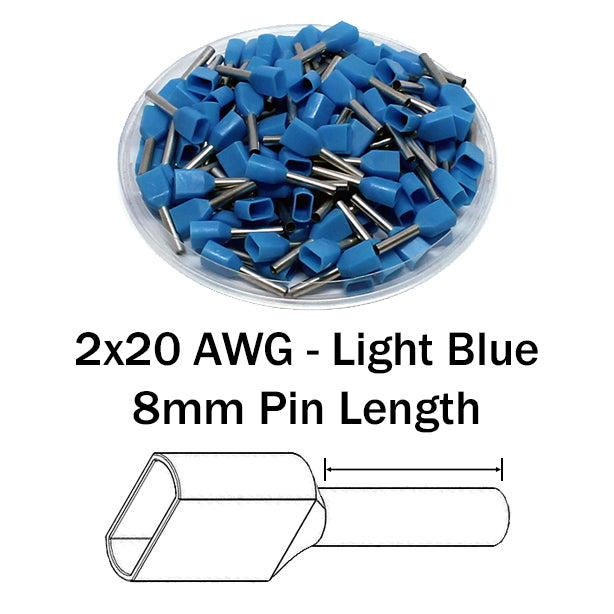 2x20 AWG (8mm Pin) Twin Wire Ferrules - Blue