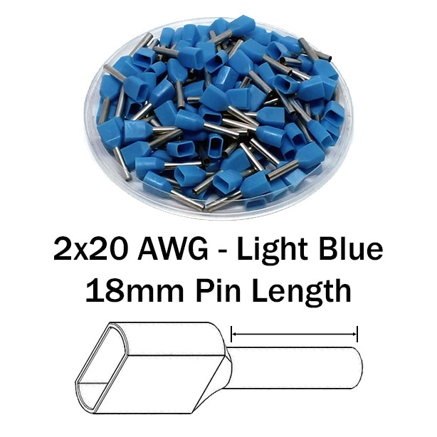2x20 AWG (18mm Pin) Twin Wire Ferrules - Blue