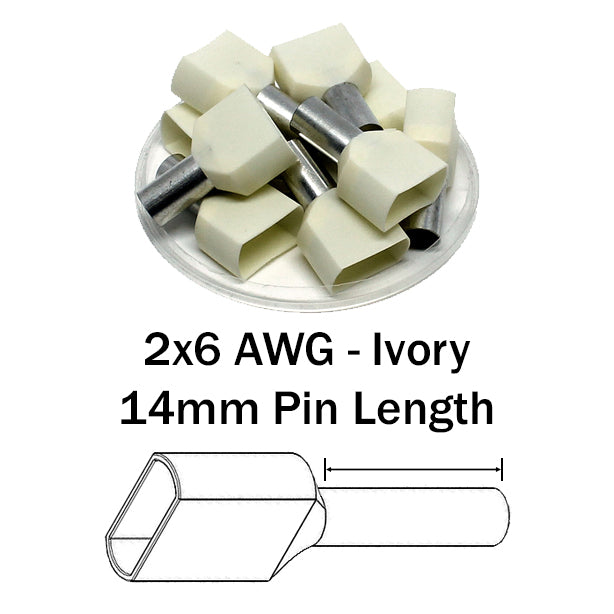 2x6 AWG (14mm Pin) Twin Wire Ferrules - Beige